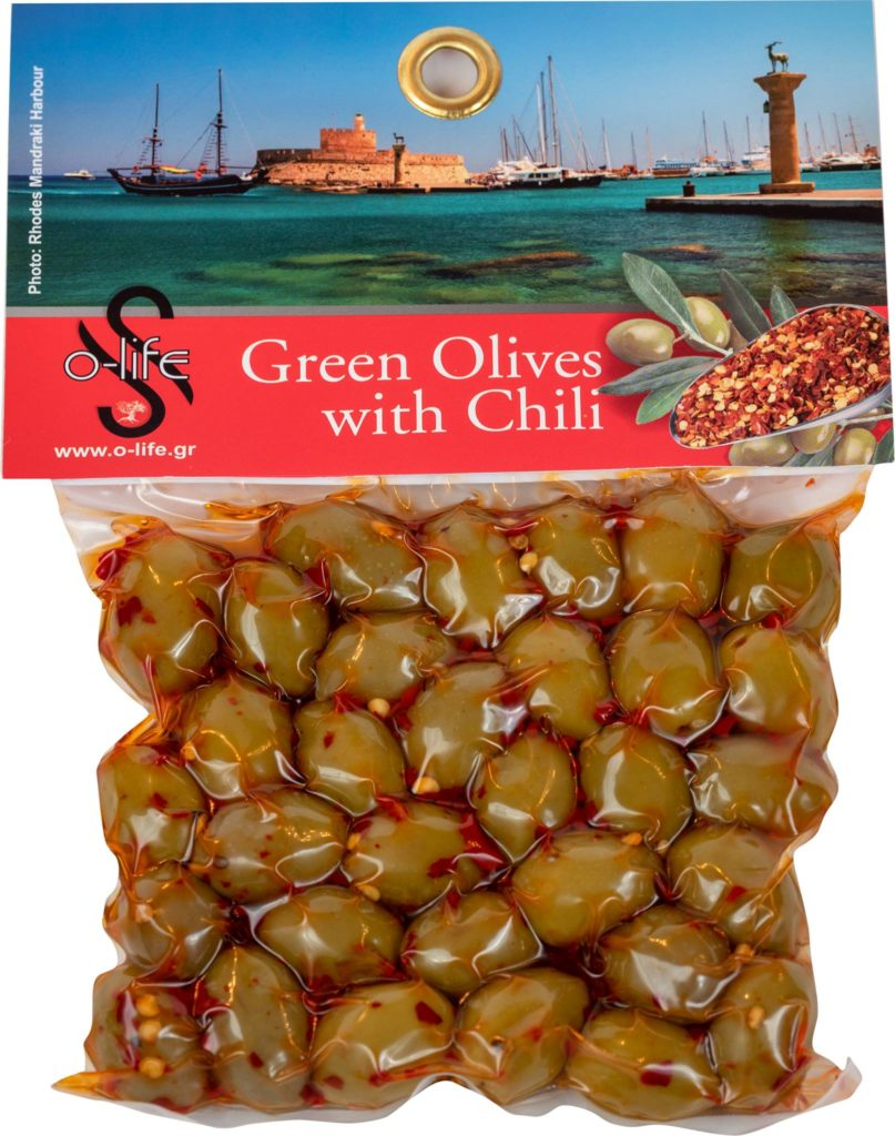 olives with chili from rodos greece